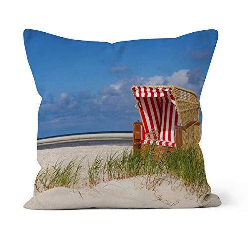 fotobar!style Motivkissen 30 x 30 cm mit Füllung Strandkorb No. 337