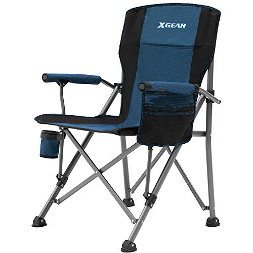 Camping Chair Hard Arm High Back Lawn Chair Heavy Duty with Cup Holder, for Camp, Fishing, Hiking, Outdoor, Carry Bag Included (Blue)