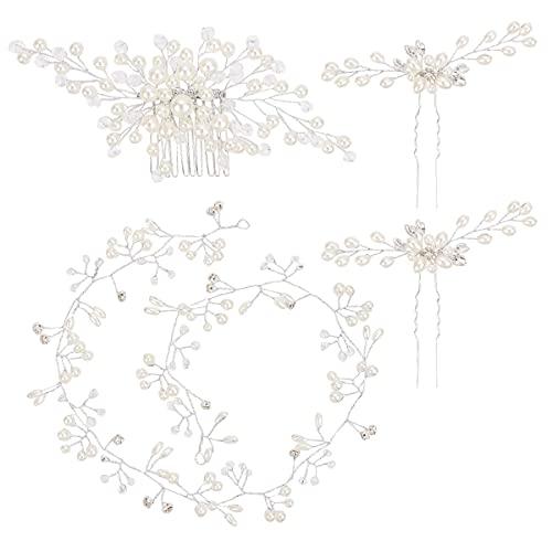 BNPCBUK Juego de 4pcs Tocados de Novia Peinetas de Pelo 50cm Diadema de Perlas para Novia y Dama de Honor, Fiestas Veladao Eventos Casuales
