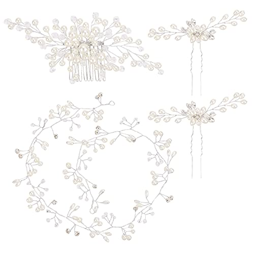 BNPCBUK Fascia per Capelli da Sposa 50cm Fermagli Capelli Sposa Accessori per Capelli con Perle da Sposa, con Capelli Perle Mollette di U e Pettine per Capelli per Donne e Ragazze