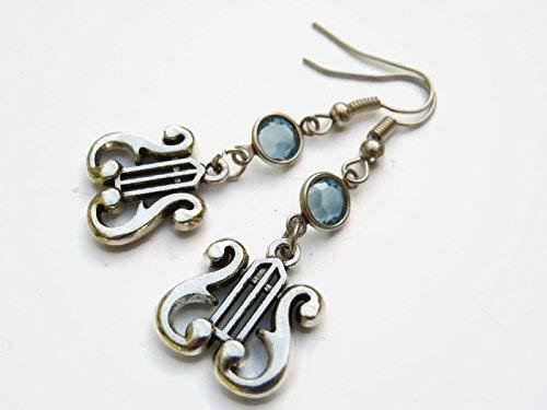 Lyre Harp Birthstone Earrings, Personalized Music Earrings, Musician Earrings, Musical Instrument Jewelry