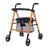 GAOFQ Andador Plegable Ligero con Carrito de Paseo para Ancianos Carrito de Compras Carrito Viejo Carrito Multifuncional para Adultos Andador Inferior, Doble B