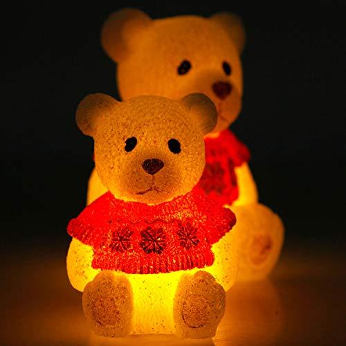 CCLIFE Candele LED Luci natalizie Paraffina Alberi Orso Pupazzo Di Neve Fiamma Dimmerabile Lampeggiante, Colore:Orso di paraffina, 2 pezzi