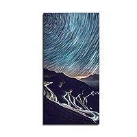 タイムラプス写真空モダンキャンバスエントランス絵画ポスター印刷風景壁アート画像リビングルーム装飾50X100cmフレームレス