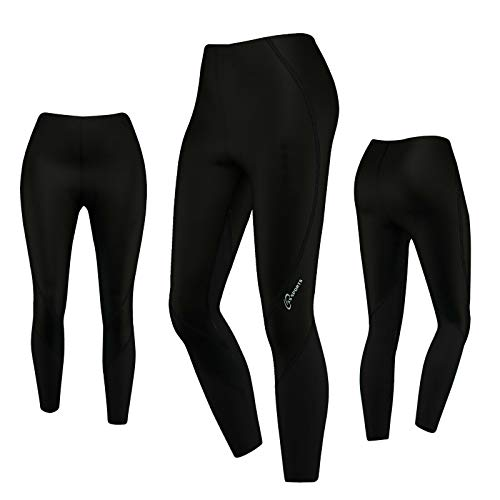 3S Sports Damen Fahrradhose Fahrrad Winter Legging Strumpfhosen Frauen Gepolsterte Thermohose (All Black, XL)