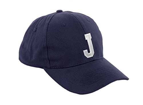 morefaz Unisex Jungen Mädchen Mütze Baseball Cap Marineblau Hut Kinder Kappe Alphabet A-Z TM (J)
