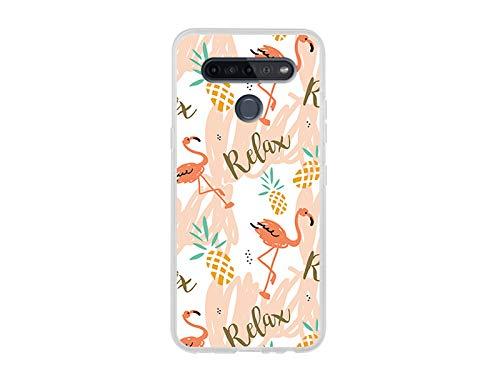 etuo Hülle für LG K51S - Hülle Fantastic Hülle - Rosa Flamingos Handyhülle Schutzhülle Etui Hülle Cover Tasche für Handy