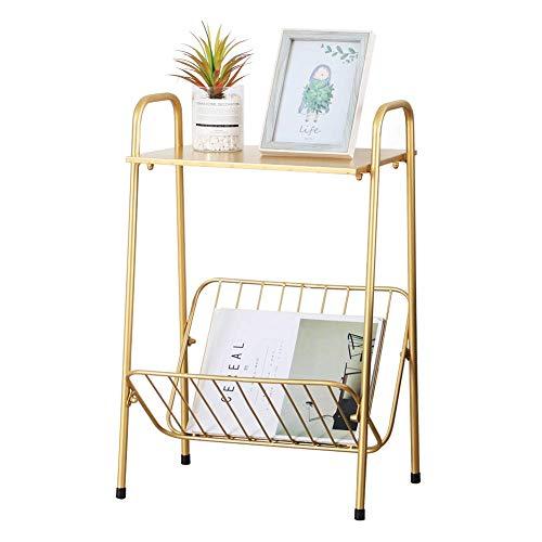 Moderna mesa auxiliar rectangular de metal, mesa auxiliar de dos pisos con almacenamiento de revistas para dormitorio, sala de estar, color dorado