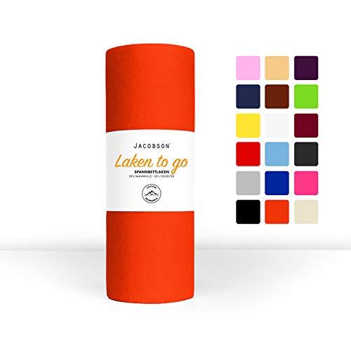 Jacobson Laken to GO Spannbettlaken Jersey Spannbetttücher Bettlaken 50% Baumwolle 50% Polyester (140x200-160x200cm 1er Set, Orange)