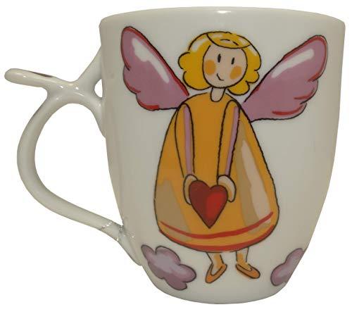 Porzellan Teetasse mit Schutzengel Motiv (mit Herz, rot)