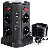 Sameriver Regleta Vertical,Regleta 8 Enchufes y 5 USB Rápida Tomas,Cable de 5M,Torre Enchufes Proteccion Sobretension con 4 Interruptores,Base Enchufes Multiple de Seguridad,2500 W/10 A