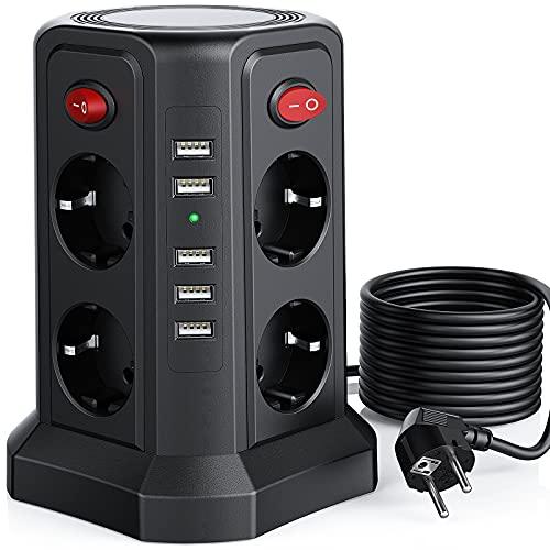 Sameriver 8 Fach Steckdosenleiste mit 5M Kabel, Mehrfachsteckdose mit 5 USB 12W, Steckdosenturm mit 4 Schalter, Steckdosenleiste überspannungsschutz, Geeignet für Zuhause und Büro(2500W/10A)