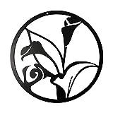 N\C XIKUO Árbol de la Vida de Metal Decoración de Pared Arte - Árbol genealógico Redondo Lirio Hueco 3D Silueta de Pared Decoración de Pared Interior de Metal Decoración de Oficina en casa Dormitorio