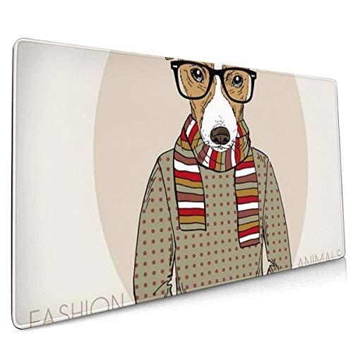 Multifunktions-Gaming-Mauspad, Tier von Jack Russel Terrier Hipster in Farben Hundebrille Schal Retro Hut Doggy
