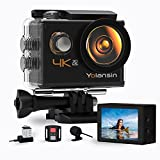 【2021 Upgrade】 Yolansin 4K Action Camera Underwater Camera 20MP 40M Waterproof EIS Sports Camera with 170° Wide Angle Ultra HD DV Camcorder with 2.4G Remote Control 2 Batteries Mounting Accessories