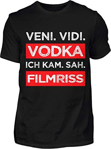 Kreisligahelden T-Shirt Herren Lustig Veni Vidi Vodka - Kurzarm Shirt Baumwolle mit Spruch Aufdruck - Karneval Party Junggesellenabschied Fun Saufen Vodka (M, Schwarz)