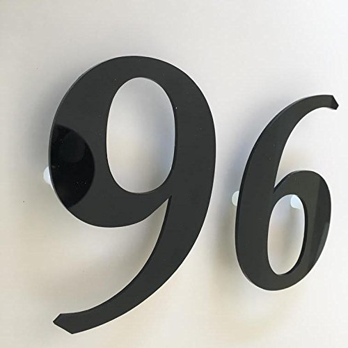 Servewell - Libro con numeri civico, finitura lucida, 30 cm, colore: Nero