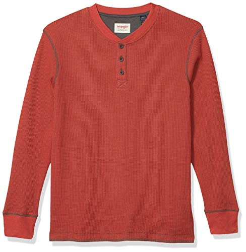 Wrangler Authentics Men's Long Sleeve Waffle Henley, Bossa Nova, Large