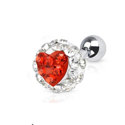 Forward helix piercing glitterbal hartje wit/rood