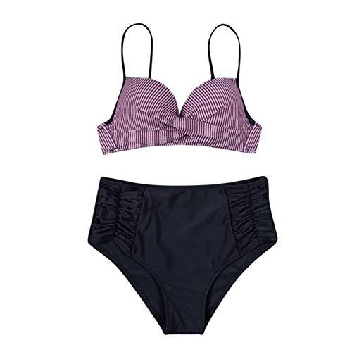 Yue668 - Bikini de cintura alta, estampado de leopardo con estampado de leopardo rosa S