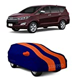 NEXTON Water-Resistant Tripple Stiched Car Cover for Toyota Innova Fully Elastic with Mirror Pockets_Orange Stripes