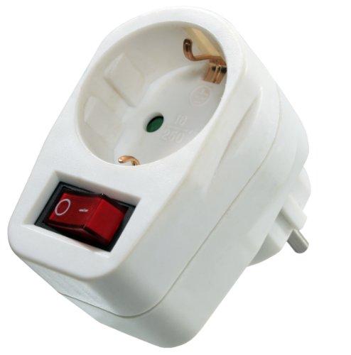 as - Schwabe Energiespar Schutzkontaktsteckdose mit Ein-/Aus-Schalter, weiß, 45037