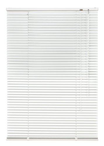 Alu Jalousie weiß - Breite 40 bis 240 cm - Höhe 130/160 / 220 cm - Tür Fenster Rollo Jalousette Aluminium Fensterjalousie Lamellen Metall (100 x 130 cm)