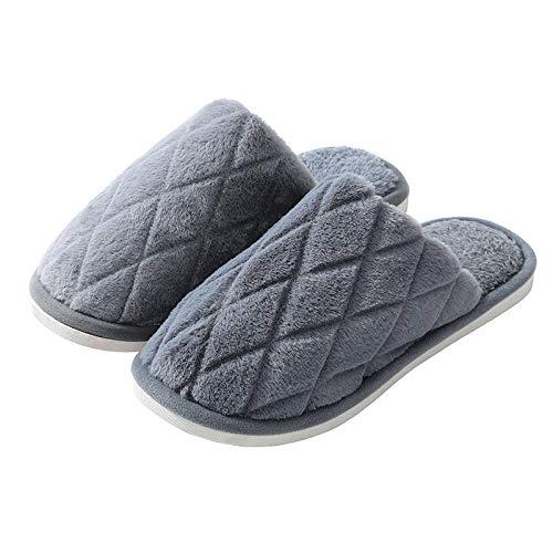 B/H Slipper Interiores y Exteriores,Calientes Pantuflas de algodón de Suela Suave, Zapatos de Felpa para el hogar-Gris_42-43,Zapatilla Andar