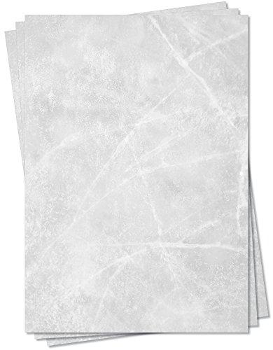 Gastronomie Papier (Grau-Eis-Marmor, DIN A5, 100 Blatt, MPA-5155b) für Speisekarten. Marmoriertes Papier, Marmorpapier zweiseitig bedruckt, für alle Drucker/Kopierer geeignet