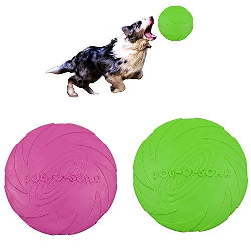 Perros interactivos Frisbee,2 Piezas Frisbee Perro,Juguete de Disco Volador para Perro,Frisbee de Goma,Disco para Perros,Frisbee para Mascotas,para Entrenar,Lanzar,Atrapar y Jugar(Rosa,Verde)