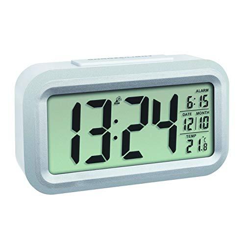 TFA Dostmann LUMIO PLUS Digitaler Funk-Wecker mit Temperatur, Kunststoff, weiß/silber, L 138 x B 48 x H 79 mm