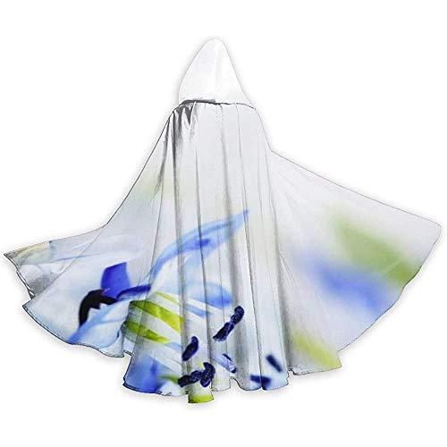 Noodtoepasbare capuchon, lange cape, cape kostuum, losse omhanging, cape met capuchon, witte en blauwe bloemen vampier-omhang, feest/kerstkostuum