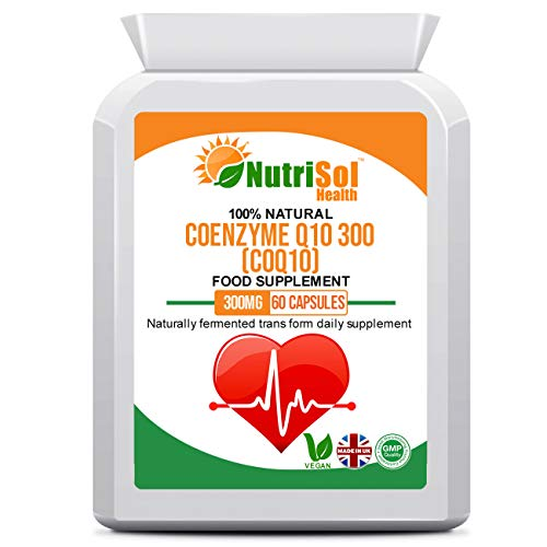 NutriSol Health Coenzyme Q10 CoQ10 300mg 60 Vegan Capsules | Naturally Fermented Trans Form Enhanced with Vitamin B1 | Food Supplement Made in The UK to GMP Standards