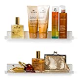 'Invisible' Bathroom Shelf Wall Mounted [2 Pack] 15 inch Clear Acrylic Shelves by Pretty Display. Extra Strong...