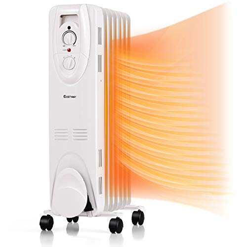 COSTWAY Oil Filled Radiator Heater, 1500W Portable Space Heater with 3 Heating Modes & Adjustable Thermostat, Tip-Over & Overheat Protection, Floor Heater with Universal Wheels for Indoor Use