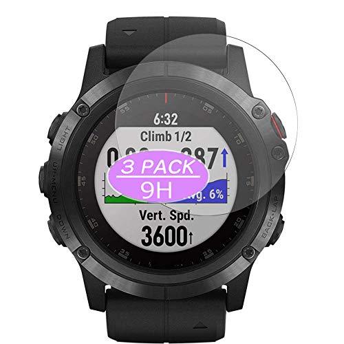 Vaxson Protector de pantalla de cristal templado, compatible con GARMIN Fenix 6 Pro, protector de película 9H