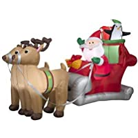 Gemmy Santa with Sleigh and Reindeer Christmas Inflatable