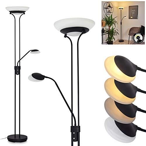 LED Stehleuchte Mairoa, Bodenlampe aus Metall in schwarz, moderne Stehlampe mit An-/Ausschalter am Gehäuse und stufenlos dimmbar, 1 x LED 27 Watt, max. 3150 Lumen, 3000 Kelvin, mit Lesearm