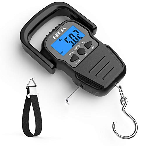 HEETA Fish Scale with Backlit LCD Display, Digital Portable Hanging Scale Luggage Scale with Measuring Tape for Home and Outdoor, 2 AAA Batteries Included, Black