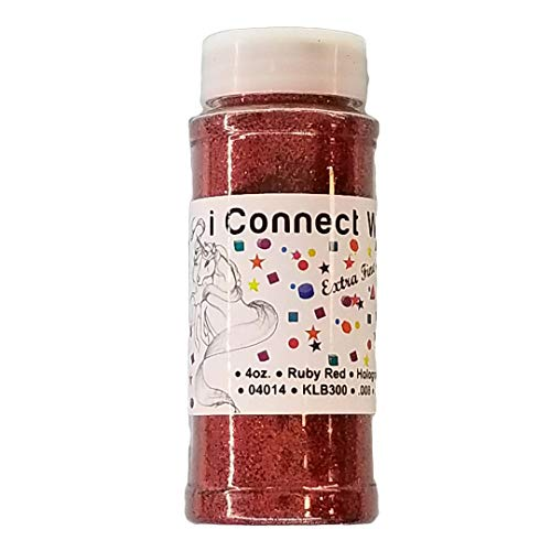 Ruby Red, Extra Fine Holographic Glitter 1/128, 4oz Shaker Bottle