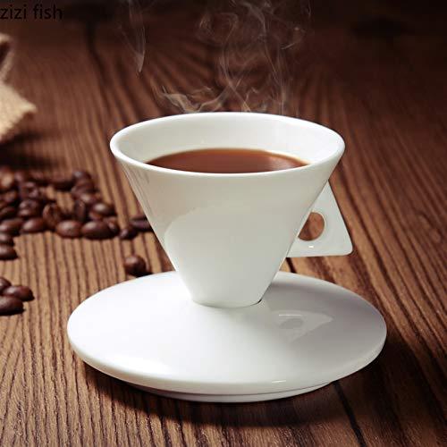 Neaer Taza de café de cerámica blanca pura de cerámica cónica de café set de tazas de café en forma de expreso de porcelana de hueso taza de café taza de café taza
