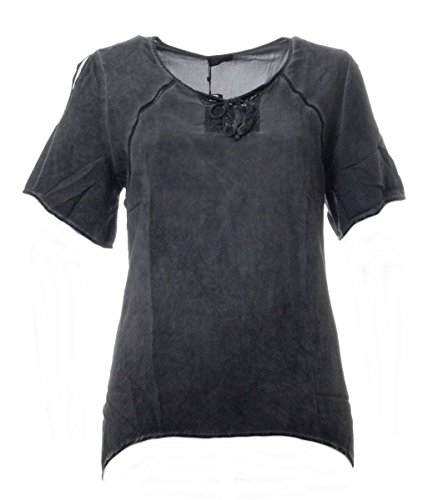 No Secret Tunika-Shirt Damen Grau Sommer Kurzarm große Größen T-Shirt Bluse, Größe:54