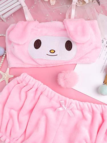 Sexig Bunny Girl Ko Cosplay Outfit Vit Rosa Söt Anime Trosor Rollspel Hembiträde Kostym Mjuk sammet Nattkläder Kawaii Underkläder Ny