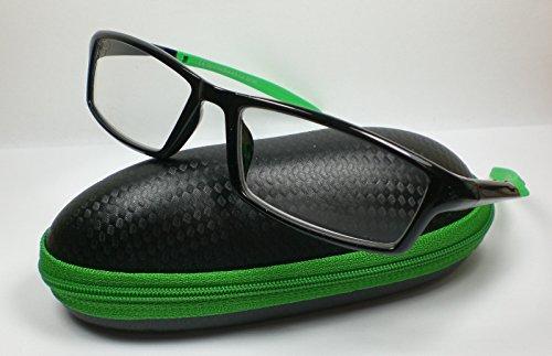 OOTB Sportliche Herren Lesebrille mit Etui Lesehilfe Fertigbrille 5 Farben grün/schwarz +3,0