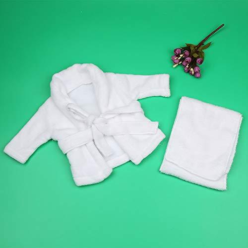 Baby Fotografie Requisiten, weiße Farbe, Bademantel und Handtuch, schönes Geschenk für Baby(0-1 months)