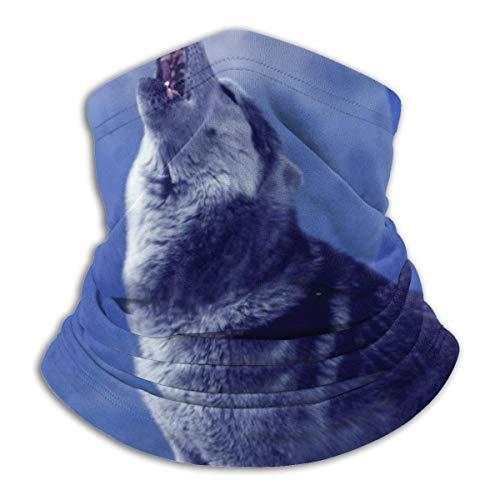 ASDAH een hulende wolf voor de achtergrond van de nachthemel met de maan-stijlvolle fleece halswarmers bivakmuts.