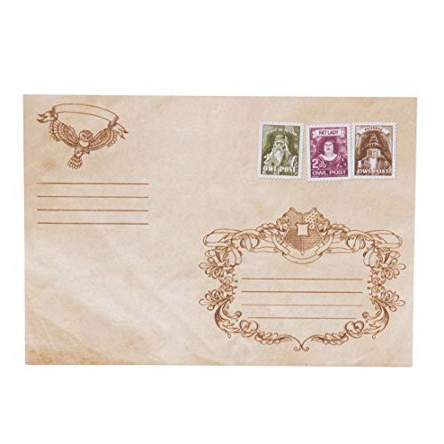 getDigital Eulenpost Briefumschläge | Mit gedrucktem Wachsiegel, Briefmarken und Motiven | Set aus 10 Umschlägen als magischer Fanartikel