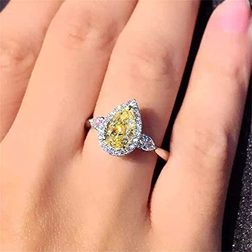 925 Sterling Silver Full Diamond Ring Shiny Citrine Ring Tear Drop 3Ct Zirconia Promise Halo Rings CZ Yellow Gem Cocktail Rings Eternity Engagement Wedding Band Ring for Women TZ.118 (US Code 9)
