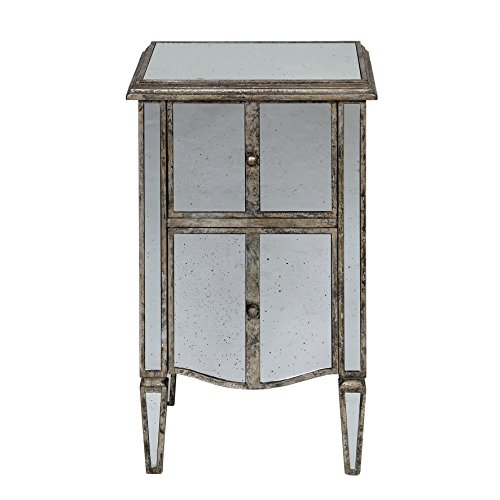 Côté Table 22276 Chevet avec 2 Tiroirs + Miroir Bois/Verre Patiné Mordoré 45 x 40 x 75 cm