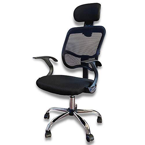 Piushopping Silla de oficina ergonómica con respaldo reclinable y soporte lumbar, reposacabezas anticervical, de tejido transpirable, oriental, giratorio, color negro